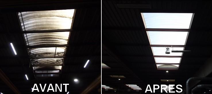 avant et après entretien voûte éclairante