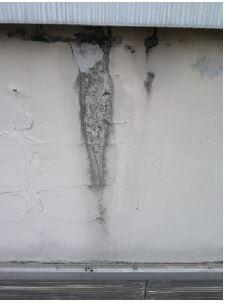 boursouflures sur le mur d'acrotère